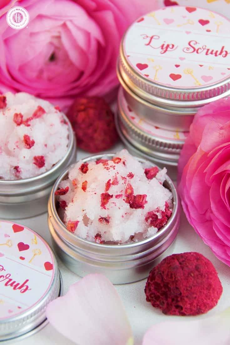 Give extra love to your lips with our DIY lip scub! The scrub is made with coconut oil, granulated sugar, and bits of freeze-dried raspberries. It's perfect to gently exfoliate skin and to transform and regenerate dry, chapped lips. Decorated with free printable labels, the scrub lip makes a romantic present for Valentine's Day, a cute favour for bridesmaids, or a lovely DIY gift for someone in need of pampering. #skincare #lipscrub #beautydiy | countryhillcottage.com