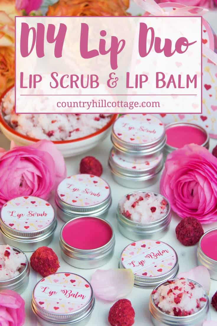Give extra love to your lips with our lip scub and lip balm DIY lip duo! The lip scrub is made with coconut oil, granulated sugar, and bits of freeze-dried raspberries. It's perfect to gently exfoliate skin and to transform and regenerate dry, chapped lips. The lip balm is made with hydrating shea butter and coconut oil to give lips a smooth and soft finish. Decorated with free printable labels, the lip duo makes a romantic present for Valentine's Day, a cute favour for bridesmaids, or a lovely DIY gift for someone in need of pampering. #skincare #lipscrub #lipbalm #beautydiy | countryhillcottage.com