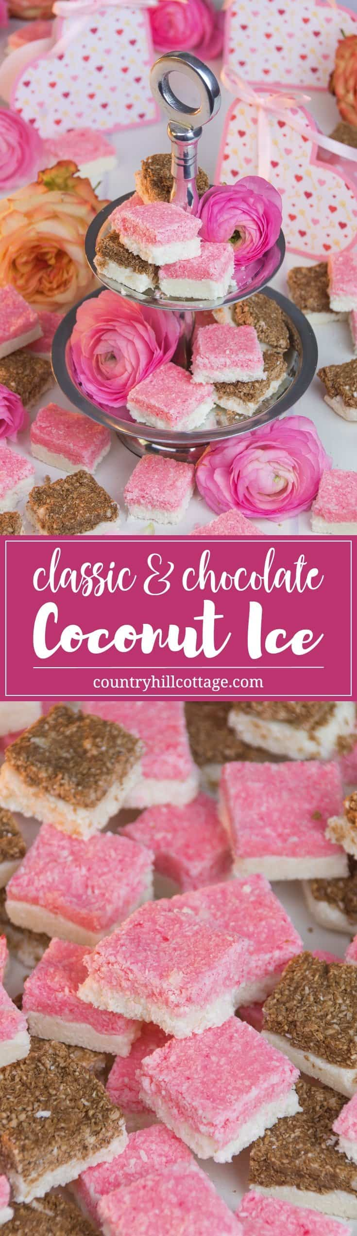 Homemade coconut ice is a sweet and easy-to-do treat, and great as wedding favours or gift for Valentine's Day. This classic British confection is made with desiccated coconut and sweetened condensed milk and has a soft and chewy texture. This recipe only requires mixing and chilling the ingredients, plus we share a chocolate version. #coconutice #candy #foodgift | countryhillcottage.com