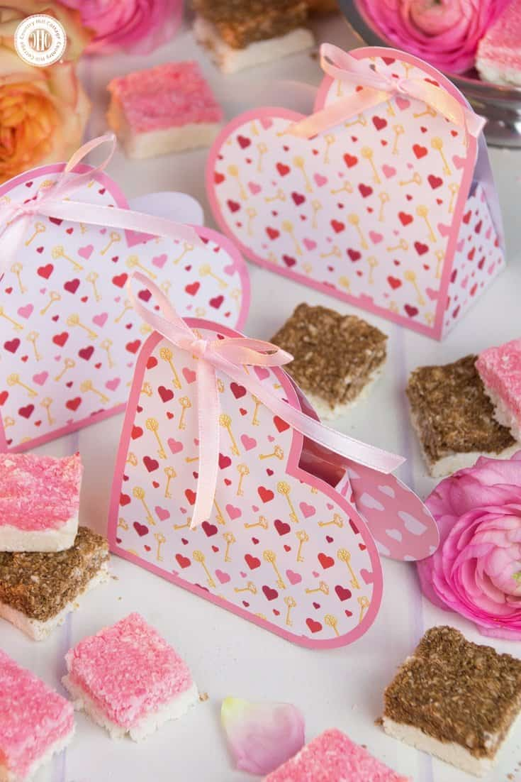 Delicious coconut ice looks so adorable packaged in our free printable heart favour boxes for the Key to My Heart collection. #ValentinesDay #printable #giftgiving | countryhillcottage.com