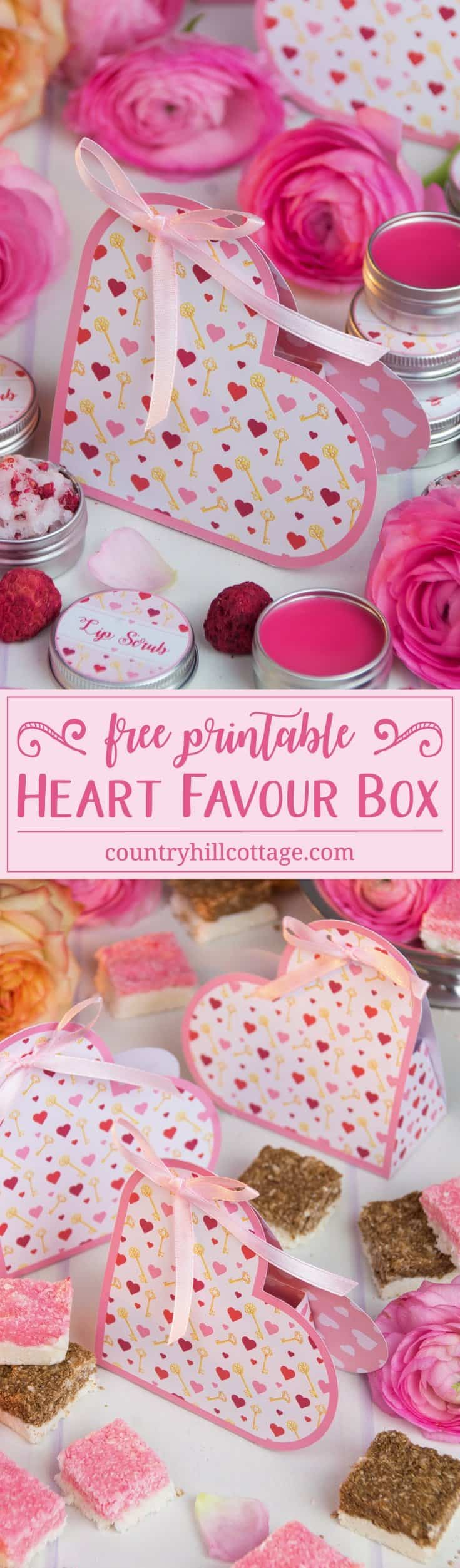 Our printable heart favour boxes make a pretty wedding or party favours and are the perfect little gift to surprise someone special on Valentine's Day. Download pretty printables to package and gift treats in style! #ValentinesDay #printable #freebie | countryhillcottage.com