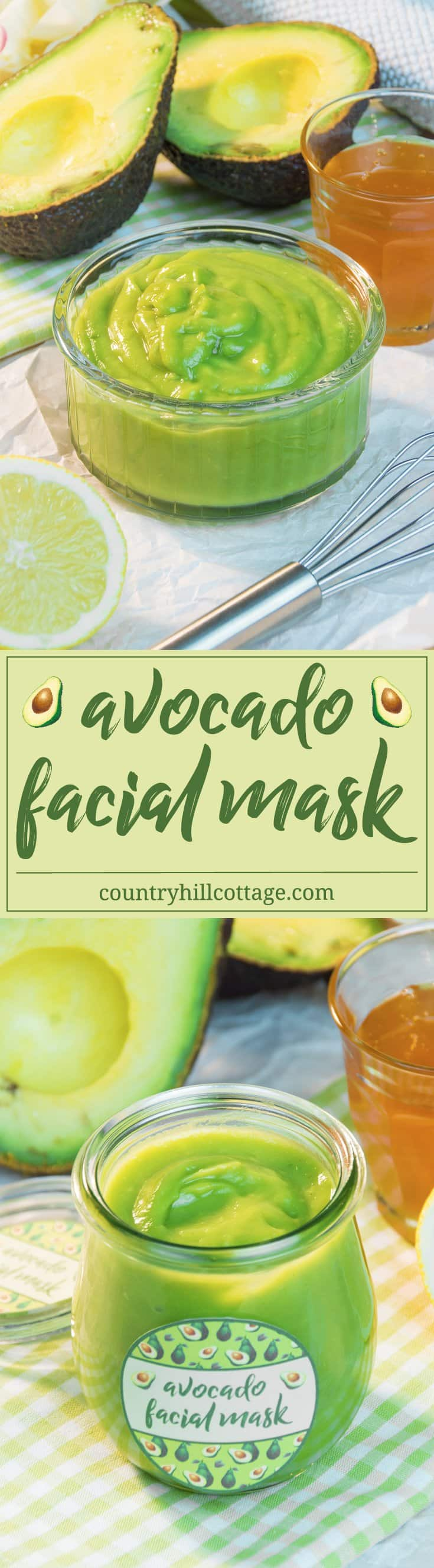 Revive your skin with a nourishing avocado facial mask! This facial mask is made with only 3 ingredients and will make your skin feeling nourished, replenished, and rested. Avocados are rich in vitamins E and B and have moisturising properties. Honey, especially raw and unpasteurised, is full of antioxidants, moisturises and helps to soothe irritations. Lemons are natural cleansers, and the vitamin C is said to protect your skin from the effects of ageing. #skincare #facialmask #avocado #beautydiy | countryhillcottage.com