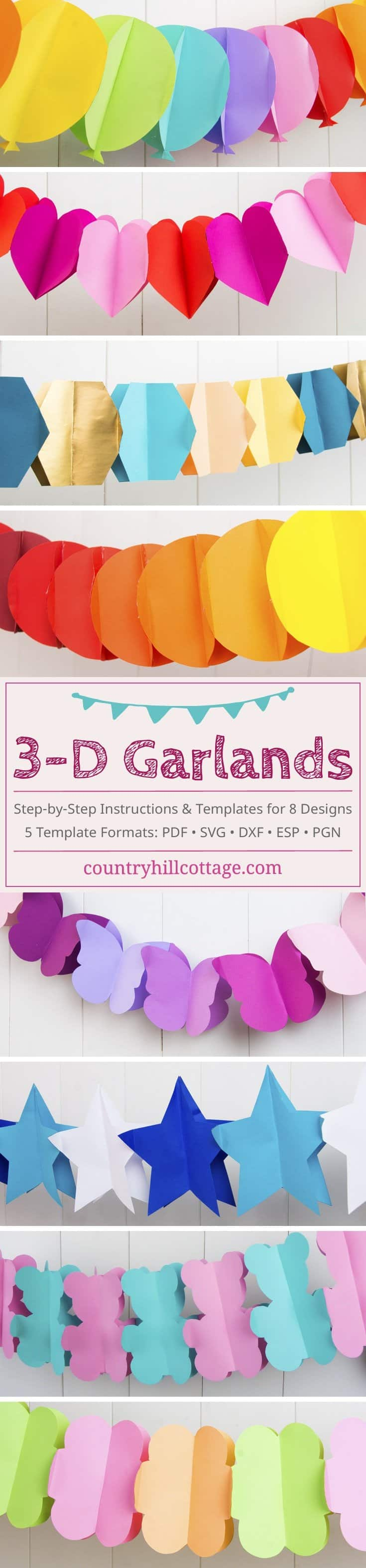 Learn how to make pretty 3-D paper garlands. The garlands are made of cardstock and looks great as decoration for weddings, engagements, birthdays and parties. We created an eBook with more templates, such as balloons, butterflies, or stars, which are fantastic to set the scene for any celebration. #papercrafts #partydecor #DIY #garland | countryhillcottage.com