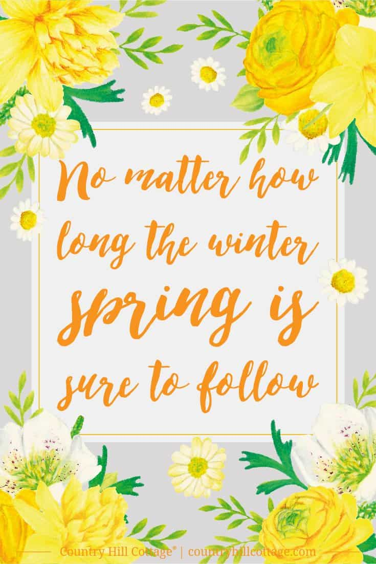 Inspirational Quote of Day: No matter how long the winter, spring is sure to follow. #inspirationalquote #freebie #printable | countryhillcottage.com