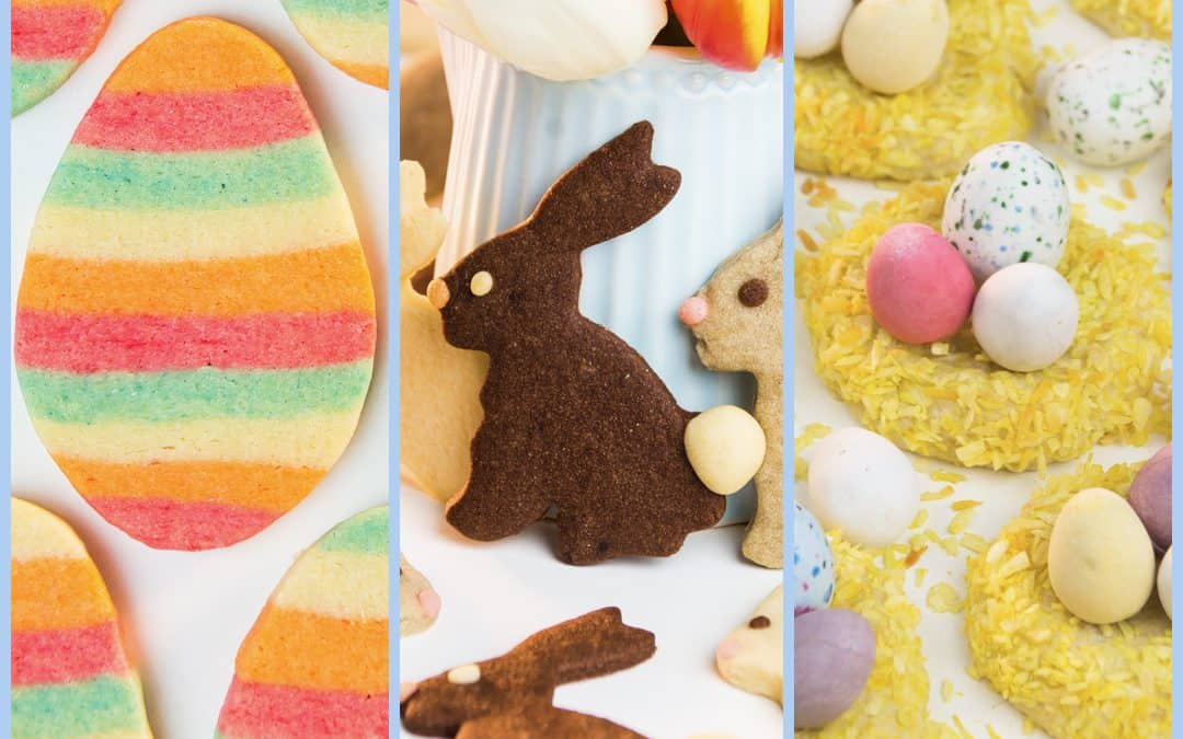 3 Easter Cookies: Bunny Biscuits, Striped Cookies, Easter Nest Cookies