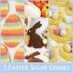 Learn to turn classic sugar cookie dough into 3 Easter cookies! We started with simple and pretty bunny biscuits, and then show how to bake cute nest cookies and elaborate stripped egg cookies. The cookies are a lovely treat for Easter brunch, and you can pack them up as gifts. #Easter #spring #biscuits #cookies #bunnybiscuits #Easternest #Eastercookies #recipe #foodgift #giftgiving | countryhillcottage.com