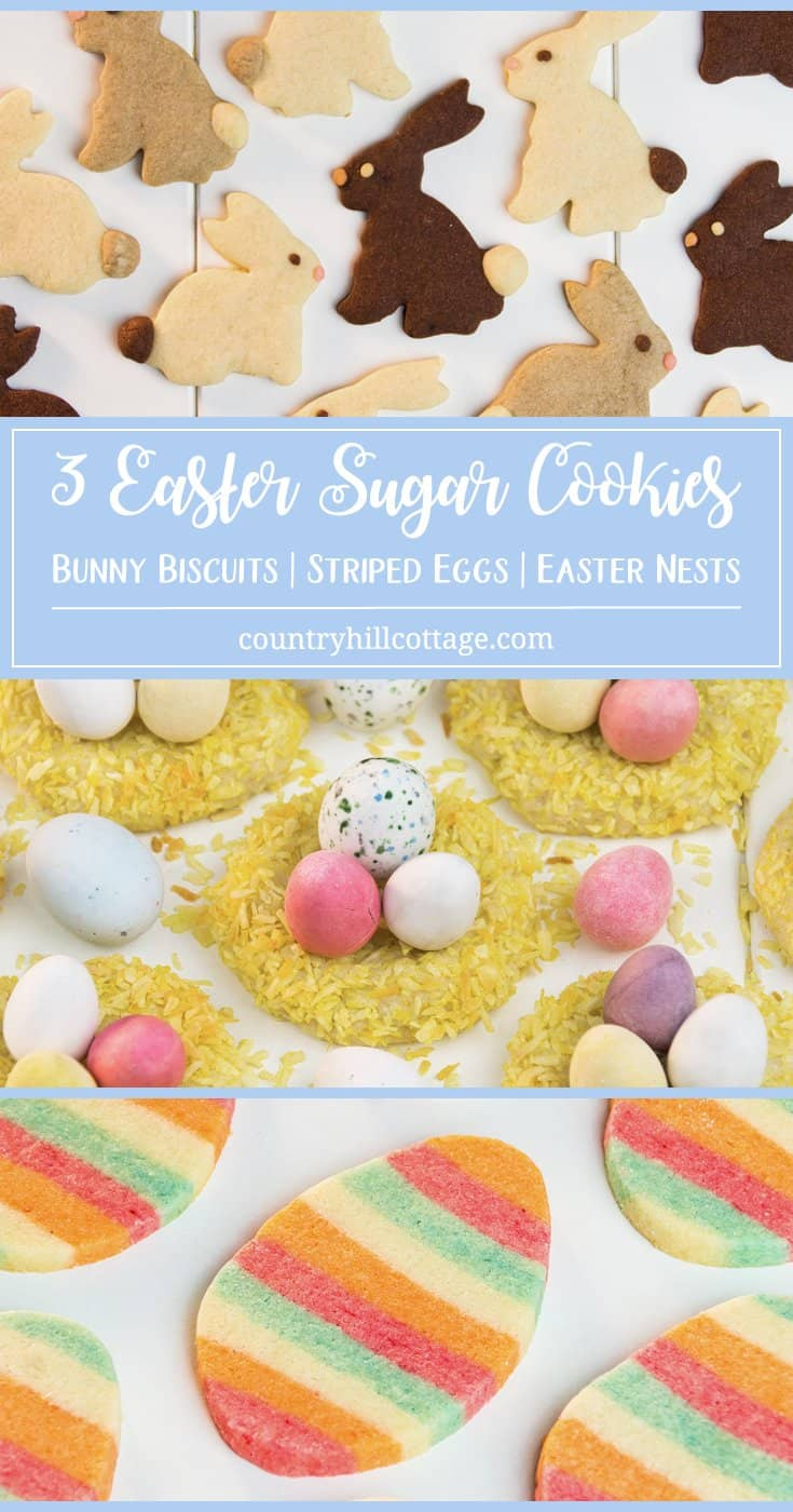 Learn to turn classic sugar cookie dough into 3 Easter cookies! We started with simple and pretty bunny biscuits, and then show how to bake cute nest cookies and elaborate striped egg cookies. The cookies are a lovely treat for Easter brunch, and you can pack them up as gifts. #Easter #spring #biscuits #cookies #bunnybiscuits #Easternest #Eastercookies #recipe #foodgift #giftgiving | countryhillcottage.com