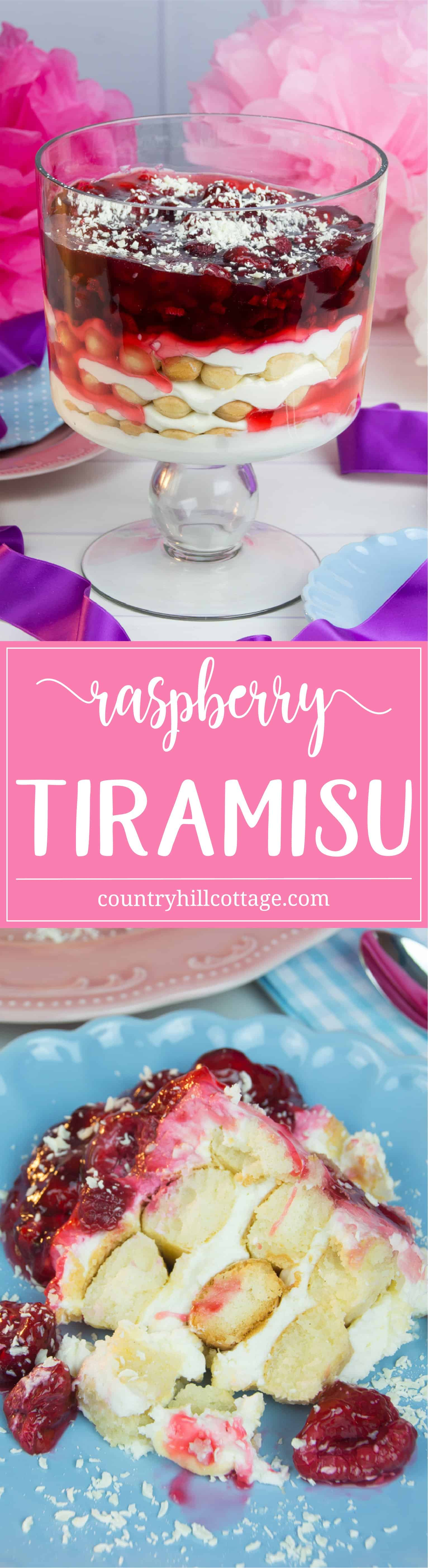Our raspberry tiramisu is a great dessert for holidays and always a favourite among kids. The tiramisu is made with layers of rich and creamy mascarpone and cream cheese mix, sweet sponge fingers, tart raspberry and refreshing raspberry jello. We love to serve this treat at parties and wins over the crowd every time. #raspberry #tiramisu #dessert #recipe | countryhillcottage.com
