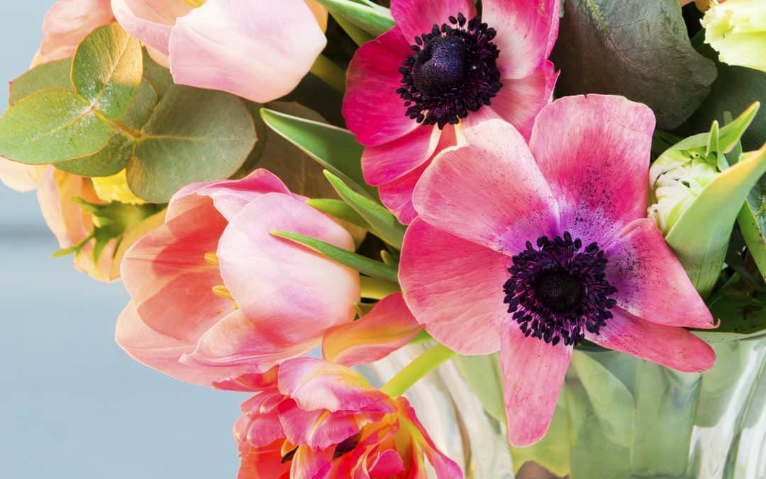 Fresh Spring Bouquet with Anemones, Tulips & Eucalyptus