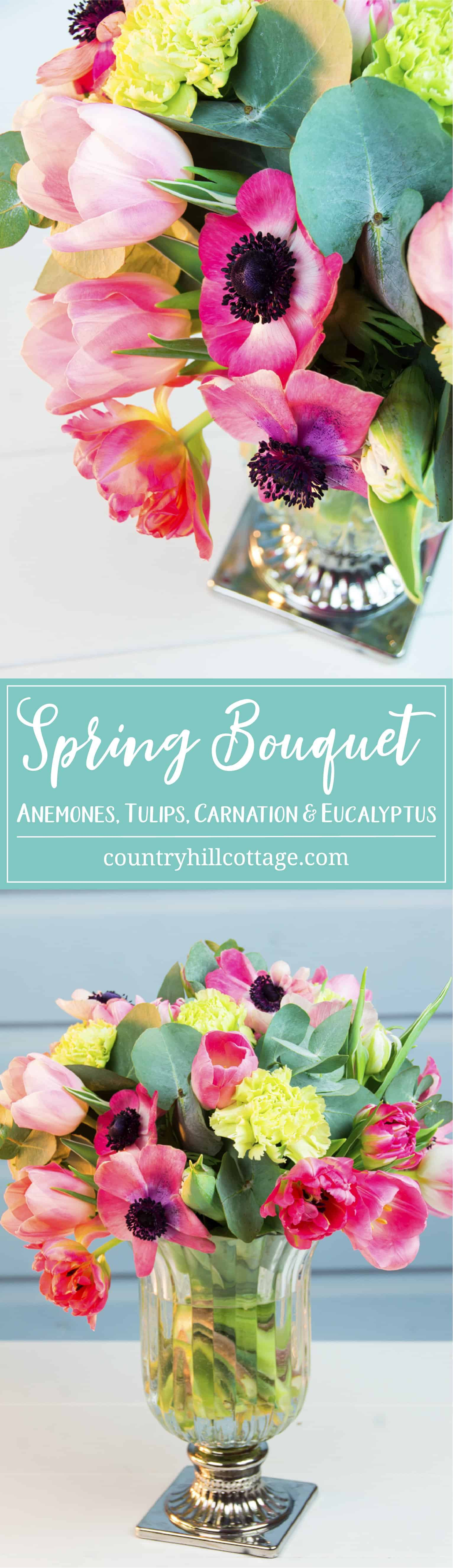 Bring on the spring blooms and create a fast and fresh spring bouquet with our seasonal favourites! The florals include French tulips, parrot tulips and anemones in pink and blush, which we paired with light green carnations and beautiful silver dollar eucalyptus. We used a tall vintage vase with a flared opening on a silver pedestal. #spring #bouquet #tulip #anemone #eucalyptus  countryhillcottage.com