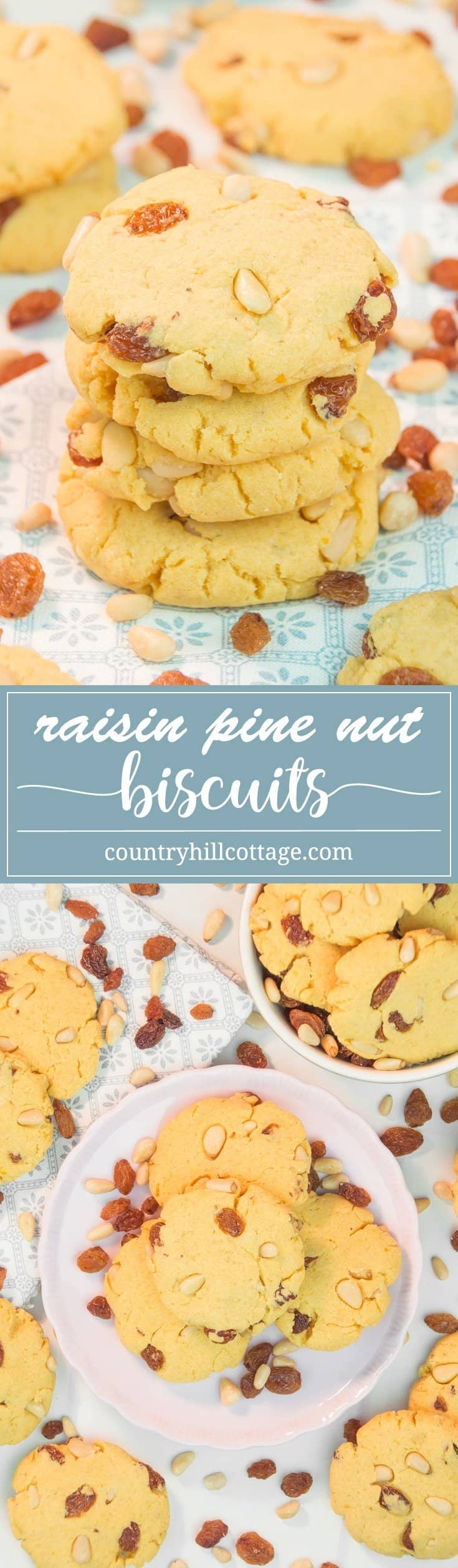Raisin pine nut biscuits are the perfect accompaniment for tea or after-dinner treat with a glass of dessert wine. These two-bite cookies are made with a flavourful combination of maize flour, raisins, pine nuts, and hints of lemon and vanilla. #cookie #biscuit #cornflour #bakingrecipe #foodgift | countryhillcottage.com