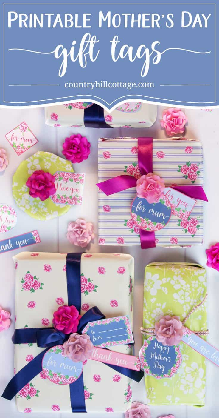 Gift your Mother's Day presents in style with 20 free Printable Mother's Day gift tags from our Vintage Rose collection! You can use these DIY gift tags them for wrapping and packaging presents. Or print the tags on self-adhesive paper and use them as stickers to decorate Mother's Day cards or other DIY projects. Or use iron-on transfer paper and adorn a sweet tee for Mum. #gifttags #MothersDay #printables #giftgiving #freebie   countryhillcottage.com