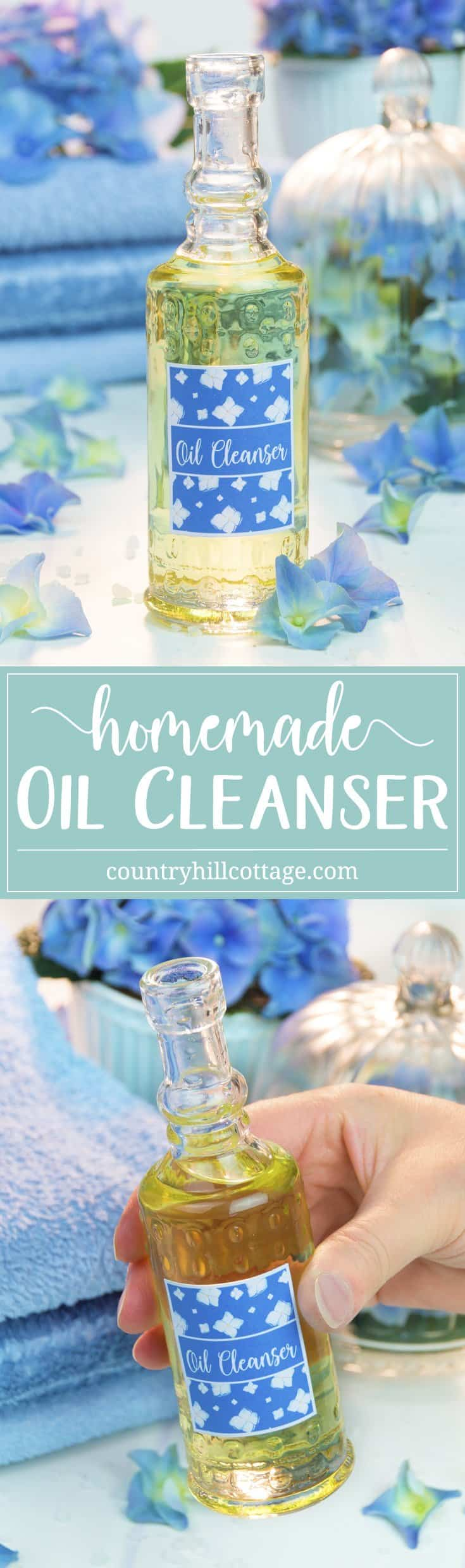 Get rid of all the grit and grime from the day with this DIY oil cleanser. It's a great and gentle way to remove makeup and clear clogged pores. If you have oily, acne-prone skin, it may seem counterintuitive to use oil for cleaning. But the opposite is true. Jojoba oil using signals the skin to produce less sebum and grapeseed oil is anti-inflammatory and rich in vitamin E. #essentialoils #oilcleanser #skincare #beautyrecipe #diybeauty #clearskin | countryhillcottage.com