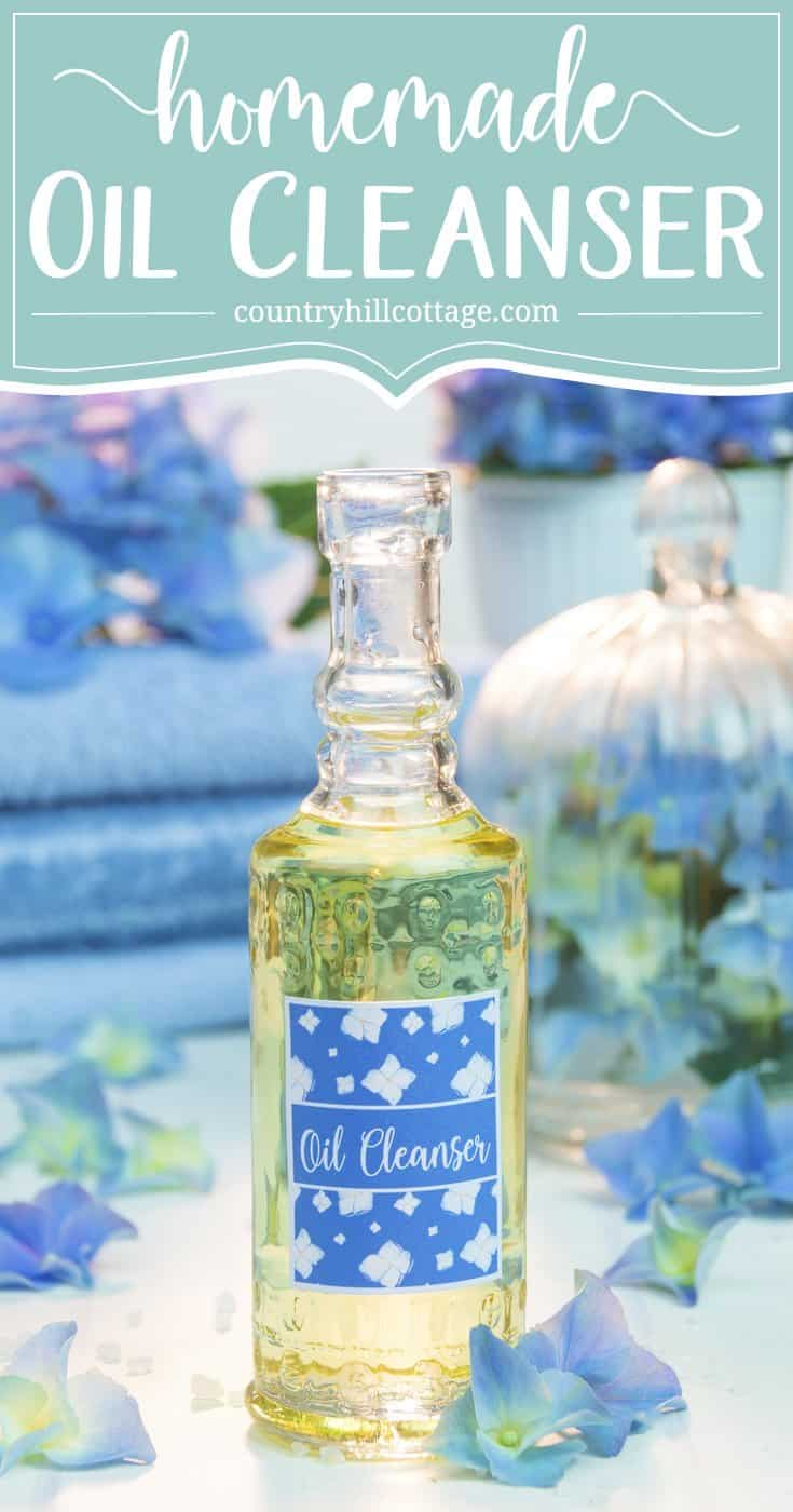 Get rid of all the grit and grime from the day with this DIY oil cleanser. It's a great and gentle way to remove makeup and clear clogged pores. If you have oily, acne-prone skin, it may seem counterintuitive to use oil for cleaning. But the opposite is true. Jojoba oil using signals the skin to produce less sebum and grapeseed oil is anti-inflammatory and rich in vitamin E. #essentialoils #oilcleanser #skincare #beautyrecipe #diybeauty #clearskin   countryhillcottage.com