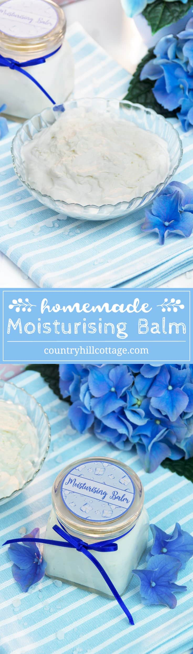 Replenish your skin with a homemade moisturising balm! This light moisturiser with all-natural ingredients retains moisture in the skin without being heavy on the skin. Shea butter nourishes the skin and helps to reduce inflammation. Hemp seed oil hydrates without clogging the pores. Get the recipe and cute printable labels on our blog! #moisturizer #balm #skincare #beautyrecipe #diybeauty #clearskin | countryhillcottage.com