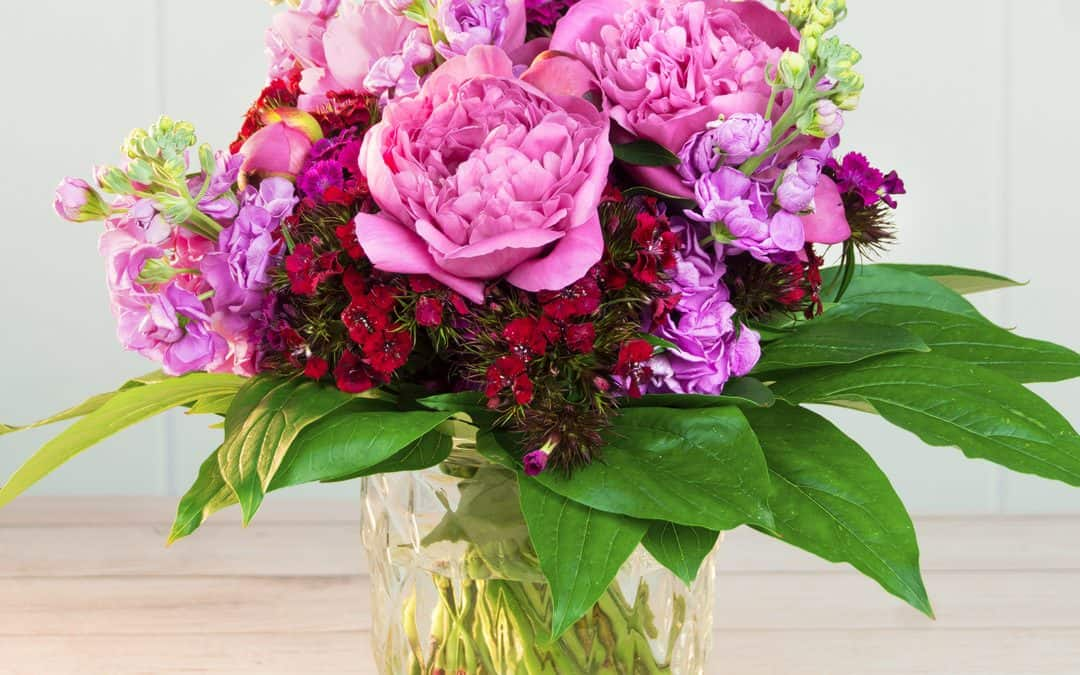 Fragrant Peony Bouquet with Stock and Sweet Williams