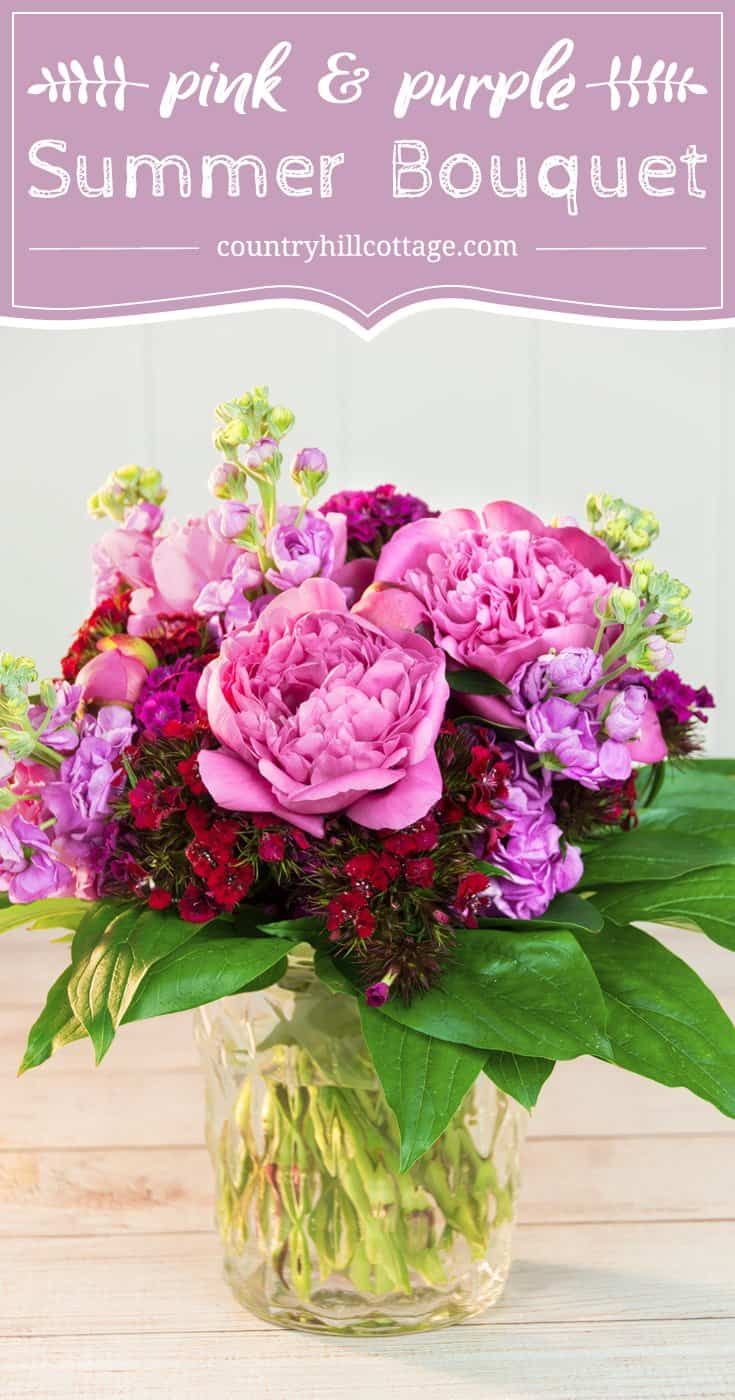 Bring the garden into your home with a fragrant peony bouquet! We combined lush pink peonies, stocks, and Sweet William. Gorgeous Sarah Bernhardt peonies smell heavenly, and their delicate ruffles create a dreamy, feminine look. Light lavender stock flowers and ruby Sweet Williams act as accent flowers. A layer of sleek aralia leaves at base completes this bouquet. #bouquet #peonies #flowerarranging #sweetwilliam #diyflowers | countryhillcottage.com