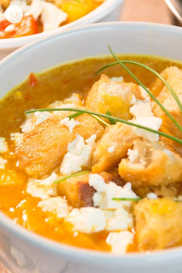 This scrumptious bell pepper soup is loaded with tasty peppers, and crunchy bites of roasted bread. The recipe is quick and easy to prepare, perfect for busy weeknights or weekend lunch. The ingredients are simple pantry staples that you probably already have on hand. We made the soup with yellow and orange peppers, but red bell peppers taste just as delicious. #dinner #soup #peppers #bellpeppers #feta #recipe | countryhillcottage.com