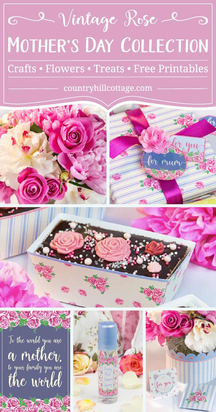 """Say a heartfelt """"I love you"""" to Mum with homemade Mother's Day gift ideas. We've created a collection of pretty Mother's Day gifts to give to your mummy and we're sure you find something that'll bring a big smile on her face. Each project includes free printables featuring our lovely Vintage Rose print, so you can put together perfectly coordinated presents. #mothersday #homemade #gifts #giftgiving #DIY #floral #printables #freebie 