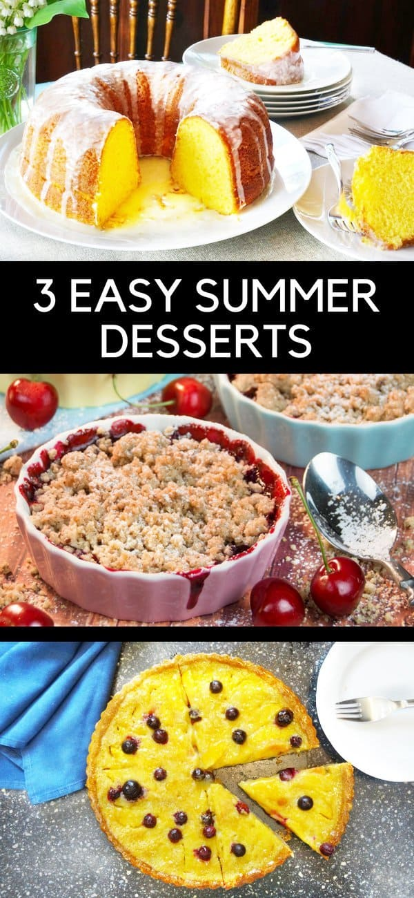 Get ideas for 3 delicious summer dessert ideas, including the original Harvey Wallbanger Cake, a scrumptious Cherry Crumble, and an amazing Peach Custard Tart with Blueberries! #summer #dessert #cake #crumble #tart | countryhillcottage.com