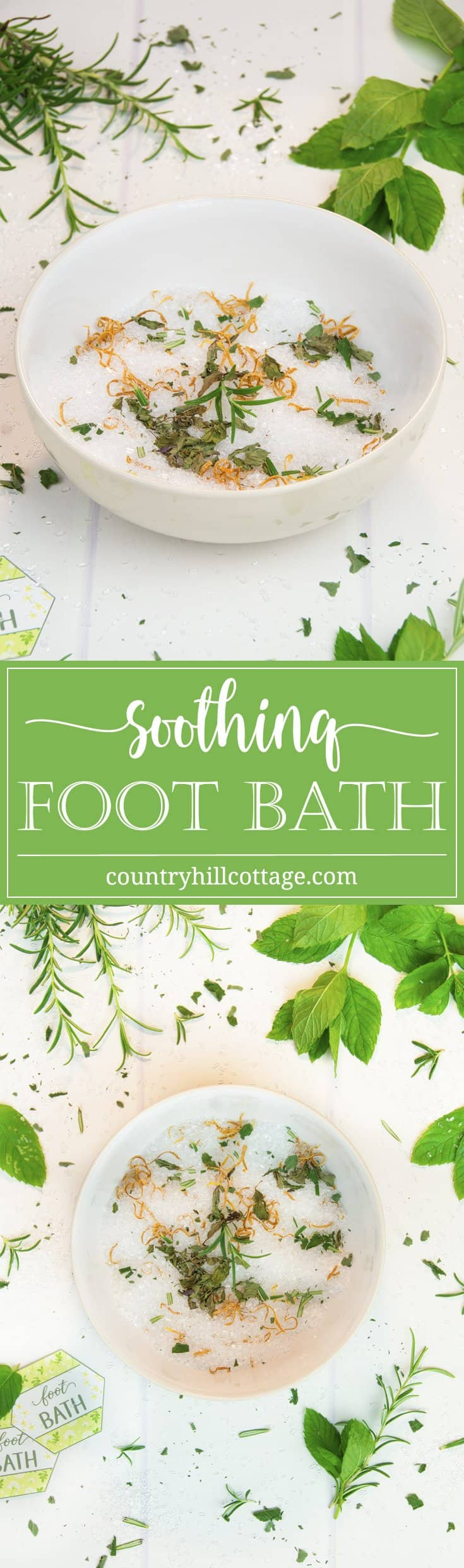 A homemade foot bath is a wonderful DIY spa experience! You can set up a foot bath in preparation for a mani-pedi, to soothe swollen feet on a hot summer day, or to soften foot calluses and corns. The base is made with Epsom salt, a magnesium sulfate compound known to reduce inflammation, relieve pain and eliminate odour. Tea tree oil helps to soften calluses, while peppermint oil and rosemary soothe cracked, dry skin. #footbath #epsomsalt #essentialoils #beautyrecipe | countryhillcottage.com