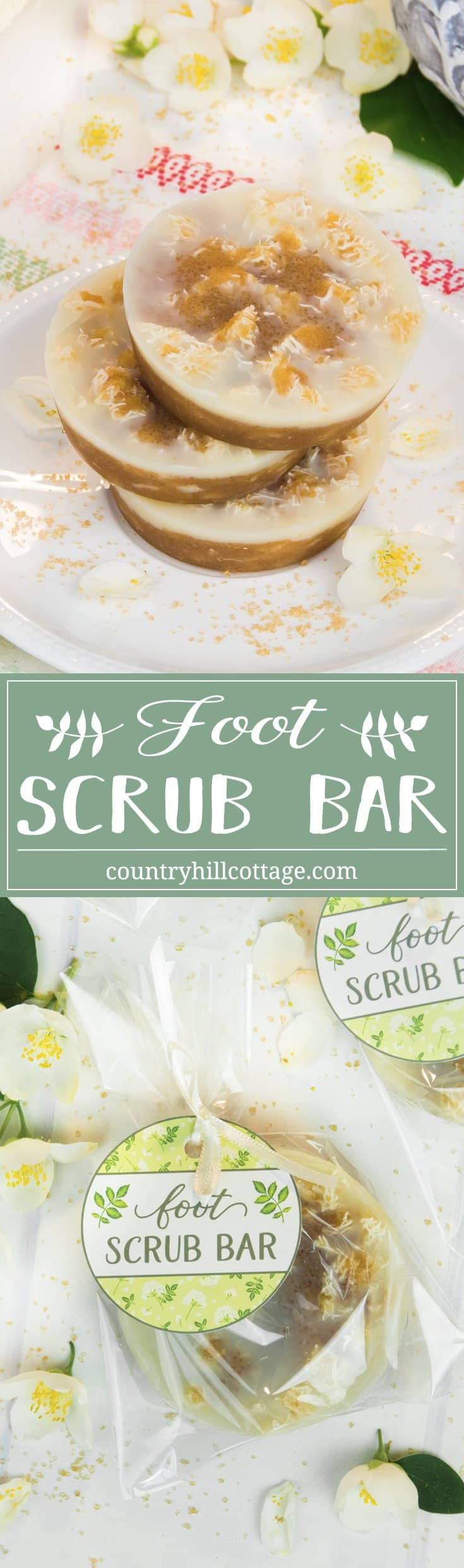 Say bye to rough, cracked feet with an all-natural foot scrub bar! This foot peeling is a real two-in-one treatment to care for dry, callous skin. The solid components of the bar exfoliate the feet and remove dead skins cells, while the oils and butter hydrate and replenish the natural lipids of your skin. This peeling bar is made with loofah sponge, cane sugar, cocoa butter, and bee or candelilla wax. #footpeeling #footscrub #scrubbar #essentialoils #beautyrecipe | countryhillcottage.com