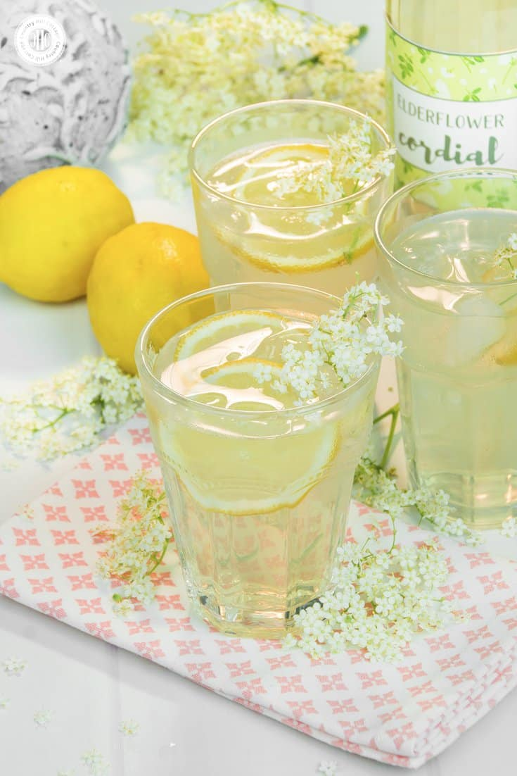 If you're looking for a summer drink idea, make refreshing elderflower cordial, a wonderfully fragrant lemonade made from the flowers of the elder tree. Aside from a handful of flowers, you only need sugar, lemons, and water. You can serve the cordial undiluted, or mixed with water, soda, or Prosecco. The cordial is also a wonderful homemade food gift, and you can download pretty printable labels to decorate your bottles. #lemonade #elderflowers #cordial #foodgift   countryhillcottage.com