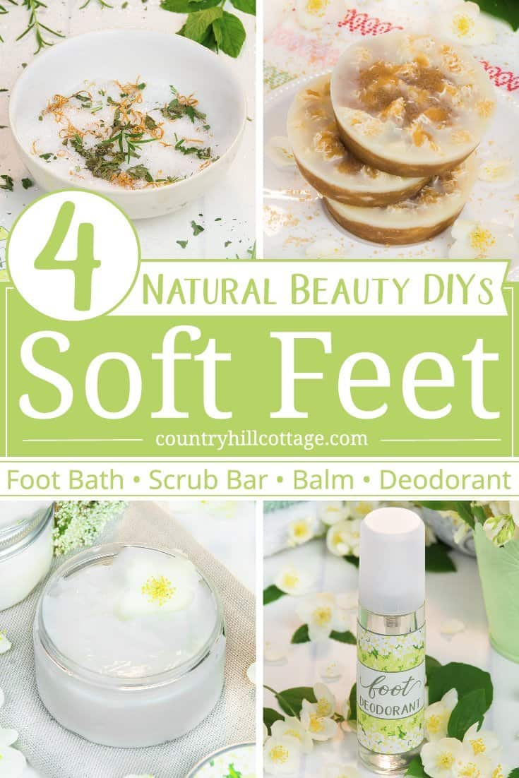 Tired dry feet, callouses, and cracked, rough heels? Then try these 4 beauty recipes for soft and healthy feet! Each product is made with natural ingredients and essential oils. Included are a homemade foot bath recipe, foot scrub bar, moisturising foot balm and a DIY foot deodorant. Each recipe comes with printable instructions and labels. #skincare #beautyrecipe #diybeauty #feet | countryhillcottage.com