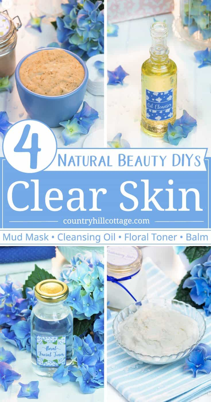 Tired of oily skin, clogged pores, and painful breakouts? Then try these 4 beauty DIYs for clear skin! Preparing your own beauty recipes isn't difficult and can save you a lot of money. You also have full control over the quality of the materials that your skin absorbs. Included are a deep cleansing mud, an oil cleanser, a floral facial toner, and moisturising balm. Each recipe comes with printable instructions and label. #skincare #beautyrecipe #diybeauty #clearskin | countryhillcottage.com