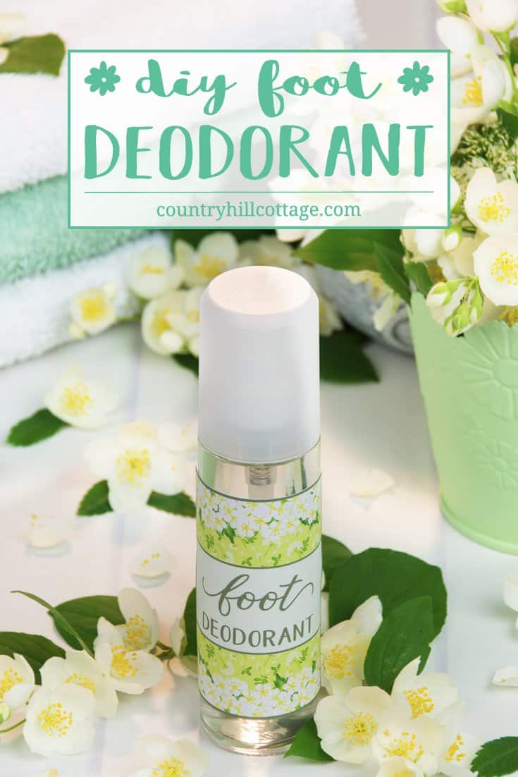 Neutralise bad smelly feet with a DIY foot deodorant with essential oils. This natural foot deodorant without aluminium is crazy easy to make. Sage and lemongrass essential oils give the deodorant a herbaceous and refreshing scent, making it perfect for ladies and gents alike. You can also spray the deodorant into shoes and sandals to disinfect and freshen up your footwear. #deodorant #skincare #essentialoils #beautyrecipe | countryhillcottage.com