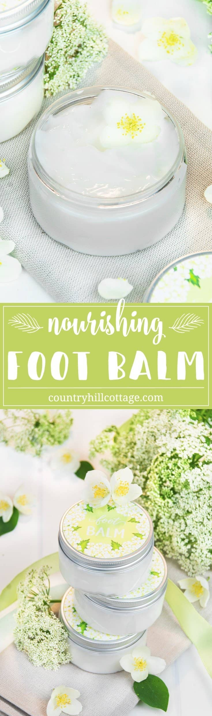 Perk up tired, dry feet and cracked heels with a nourishing foot balm with essential oils! This homemade foot balm recipe is wonderful DIY treatment to care for your feet and make them healthy, smooth and sandal-ready. The balm is made with nourisihing oils and butters and essential oils and helps to sooth aching feet, soften callouses and treat rough, ragged skin. #footbalm #skincare #essentialoils #beautyrecipe   countryhillcottage.com