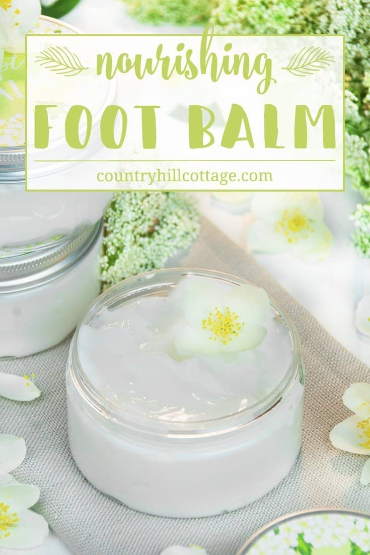 Perk up tired, dry feet and cracked heels with a nourishing foot balm with essential oils! This homemade foot balm recipe is wonderful DIY treatment to care for your feet and make them healthy, smooth and sandal-ready. The balm is made with nourisihing oils and butters and essential oils and helps to sooth aching feet, soften callouses and treat rough, ragged skin. #footbalm #skincare #essentialoils #beautyrecipe | countryhillcottage.com