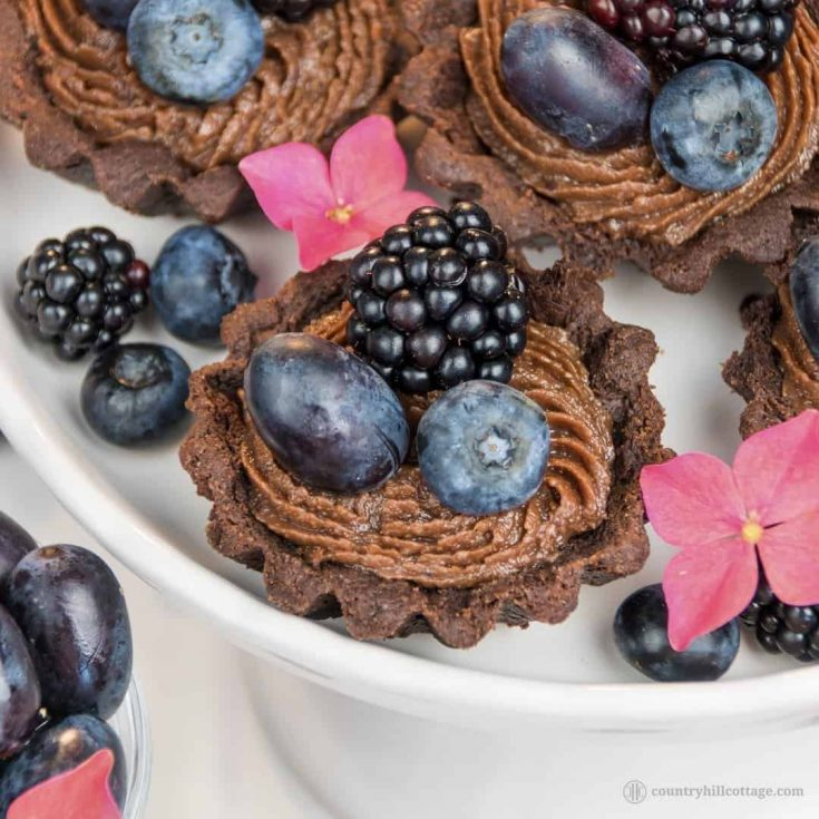 For a lovely afternoon tea indulgence bake delicious chocolate tartlets with berries! Crisp chocolate shells are laden with dark summer berries and filled with a delectable chocolate cream cheese filling with subtle berry notes. The dough is soft, crumbly and has an intense chocolate flavour. The soft filling is made with cream cheese, white and dark chocolate and blueberry jam to reflect the berry decoration. #tartlet #chocolate #tart #berries #bakingrecipe   countryhillcottage.com