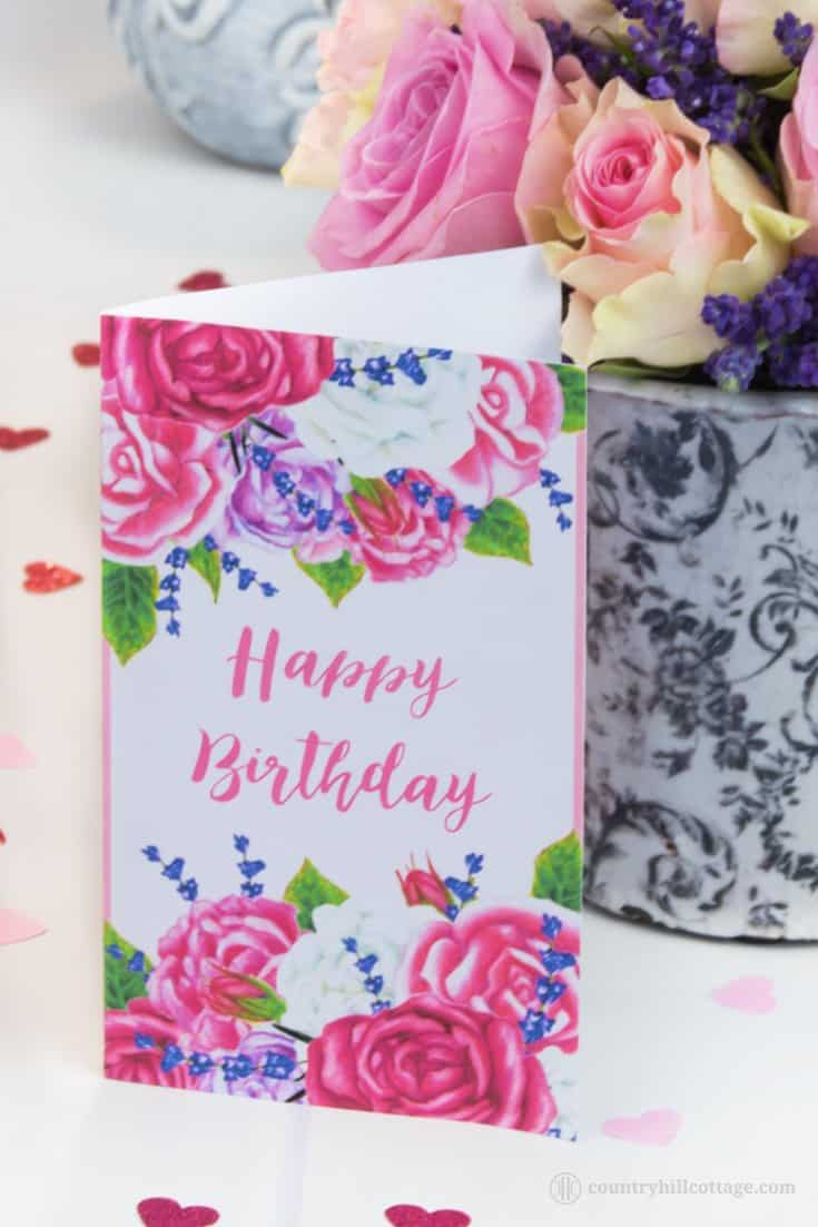 "Download a free printable ""Happy Birthday"" greeting card decorated with hand-drawn roses and lavender. This printable birthday card is a lovely accent for birthday gifts and gift giving. Tab the image and get the printable now! #roses #lavender #printablecard #printable #giftgiving