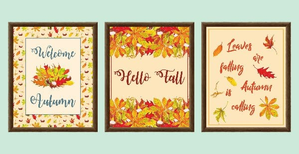 Download 6 free autumn printables and add autumnal style to your home. Included are a colourful wreath design, Welcome Autumn, Hello Fall and Leaves are falling prints, and two lovely quotes from English writer Emily Brontë and American landscape architect Elizabeth Lawrence. Each printable in this collection of free fall printables has a size of 8 x 10 in and can be printed on A4 and letter paper. #printables #autumn #fall #wallart #homedecor #freeprintables | countryhillcottage.com