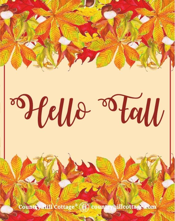 """Download this """"Hello Fall"""" wall art and more free autumn printables. Included are a colourful wreath design, Welcome Autumn and Leaves are falling prints, and two lovely quotes from English writer Emily Brontë and American landscape architect Elizabeth Lawrence. Each printable in this collection of free fall printables has a size of 8 x 10 in and can be printed on A4 and letter paper. #printables #autumn #fall #wallart #homedecor #freeprintables 