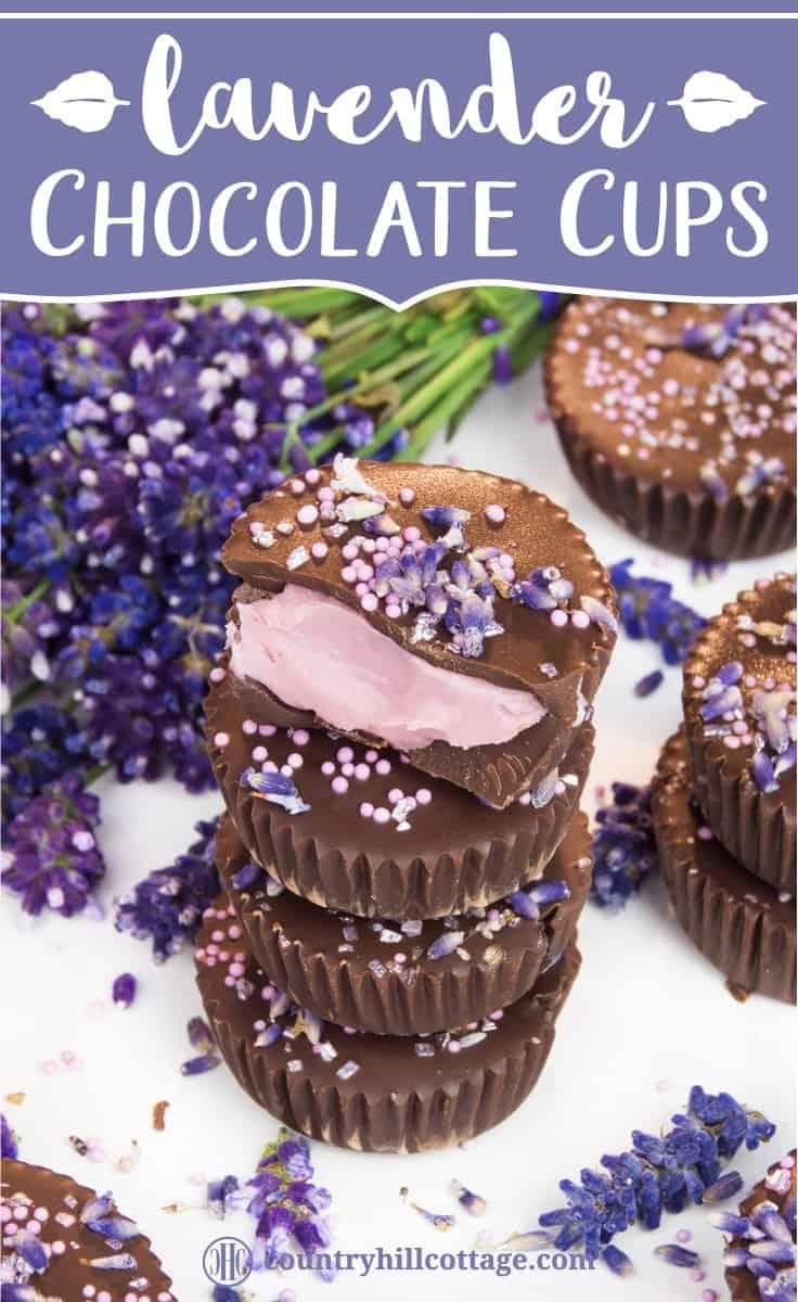 Lavender chocolate truffles are the perfect blend of rich dark chocolate and luxurious lavender aroma. The first step is to whip up a lavender-infused chocolate ganache. Then layer melted dark chocolate and the ganache in small cupcake cases and chill until set. These indulgent little chocolate cups are great homemade food gift for many occasions. Tab the image for the recipe and free printable gift boxes. #chocolatetruffles #lavender #essentialoil #truffles #foodgifts | countryhillcottage.com