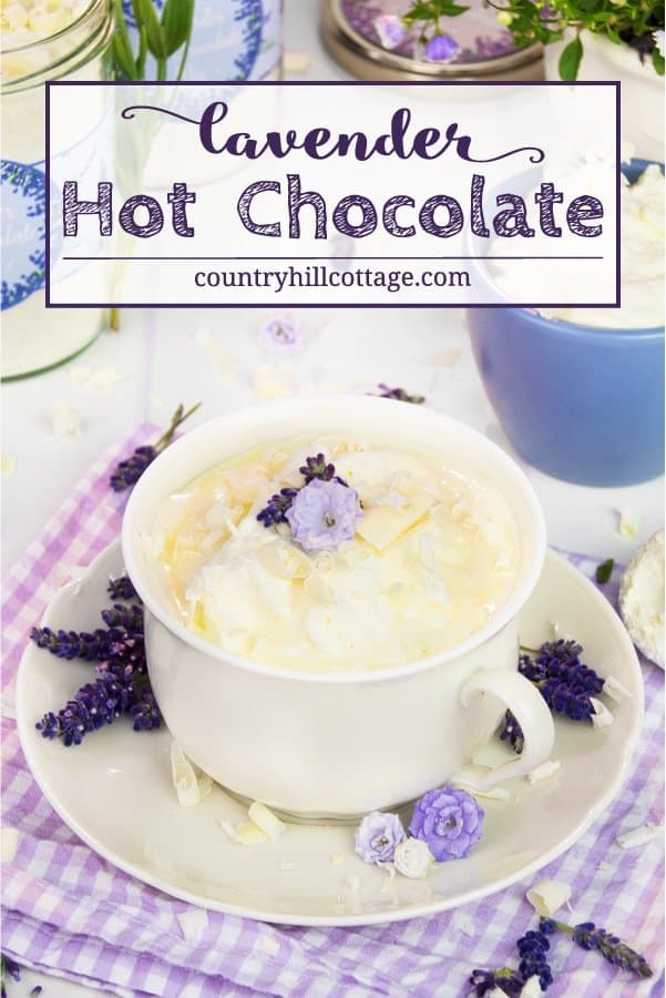 White lavender hot chocolate is a wonderful hot drink recipe for all seasons of the year! It's the perfect autumn drink recipe to make cool autumn night cosier and a lovely treat throughout the holiday season. Served cold with vanilla ice cream, this hot chocolate is also a great summer refreshment. The recipe comes with free printable labels to package the hot chocolate mix for gift giving. #hotchocolate #lavender #essentialoil #hotchocolatemix #foodgifts | countryhillcottage.com