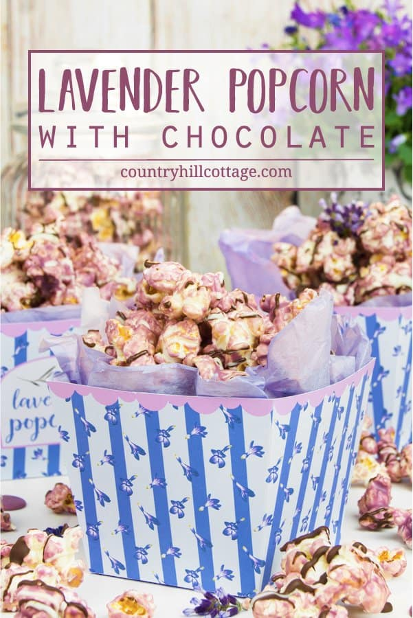 Lavender popcorn puts a floral spin on classic sweet popcorn. This sweet treat is made by coating fluffy popcorn in candy melts seasoned with lavender essential oil, followed by a drizzle of dark and white chocolate. You can prepare the recipe with homemade or store-bought, unflavoured or slightly salty or sweet popcorn. The recipe comes with a free printable popcorn box to package the popcorn for gift giving. #popcorn #lavender #essentialoil #lavenderpopcorn #foodgifts | countryhillcottage.com
