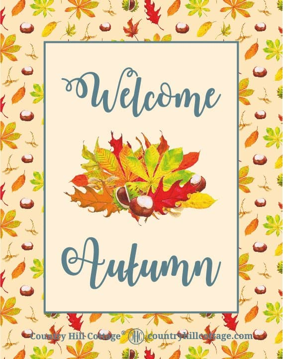 """Download this """"Welcome Autumn"""" wall art and more free autumn printables. Included are a colourful wreath design, Hello Fall and Leaves are falling prints, and two lovely quotes from English writer Emily Brontë and American landscape architect Elizabeth Lawrence. Each printable in this collection of free fall printables has a size of 8 x 10 in and can be printed on A4 and letter paper. #printables #autumn #fall #wallart #homedecor #freeprintables 