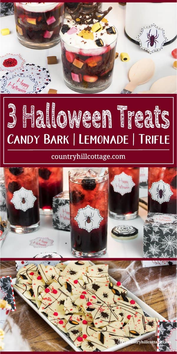 Please your ghoulish guests with 3 easy Halloween treat ideas! No spells are needed to make Creepy Crawler Chocolate Bark, a fun candy bark made with white and dark chocolate, sprinkles and liquorice. Chocolate cake, jelly, sweets, and whipped cream make for wicked layers in our Tarantula Trifle. Or take a sip from Black Widow Lemonade, an icy drink made with blackberry sauce and pomegranate tea. #Halloween #Halloweendessert #Halloweentreats #Halloweendrink | countryhillcottage.com