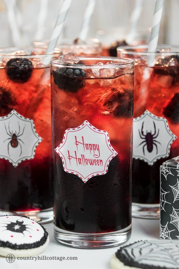 Fancy a drink? We dare you to take a sip from this Black Widow Lemonade, an icy drink made with blackberry sauce and pomegranate fruit infusion. This beautiful drink is really easy to make. Cook a delicious blackberry sauce and pomegranate fruit tea. Then layer both liquids with ample amounts of crushed ice in tall tumbler glasses, which creates a stunning ombré effect ranging from black to red. #Halloween #Halloweendrink #lemonade #blackberrylemonade | countryhillcottage.com