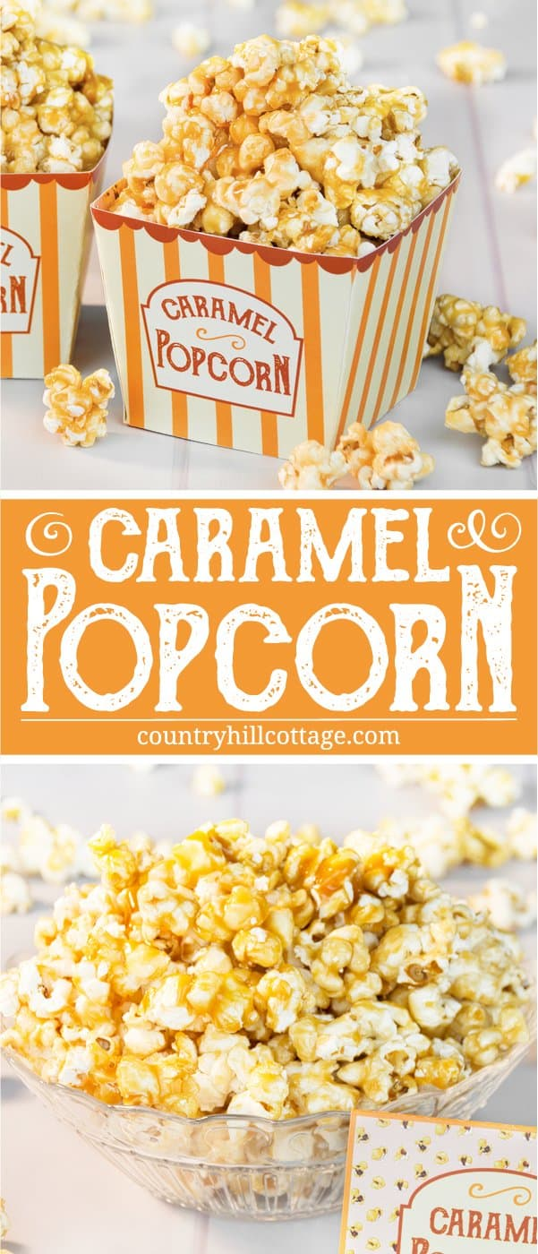 Homemade caramel popcorn is sweet, crunchy and hard to stop eating! This yummy snack is easy to whip up: pop the kernels or use premade popcorn. Then cook a thick caramel sauce with brown sugar and butter and toss the popcorn in the sauce. The recipe includes a printable retro popcorn box for gift giving or to serve at your next movie. Check out the recipe and learn how to make caramel popcorn from scratch. #caramelpopcorn #caramel #popcorn #foodgifts | countryhillcottage.com