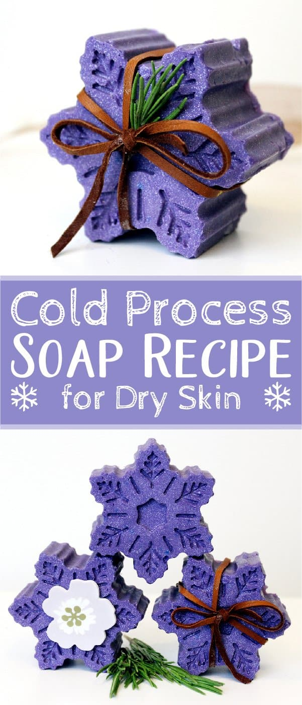 This homemade cold process soap recipe is perfect for cold weather. Formulated with natural ingredients and a blend of minty essential oils, this soap recipe not only nourishes dry skin, but is also perfect for seasonal handmade holiday gifts. A blend of natural, seasonally inspired wintergreen and peppermint essential oils help to invigorate the senses for the perfect morning pick me up. #soap #coldprocesssoap #skincare #essentialoils | countryhillcottage.com