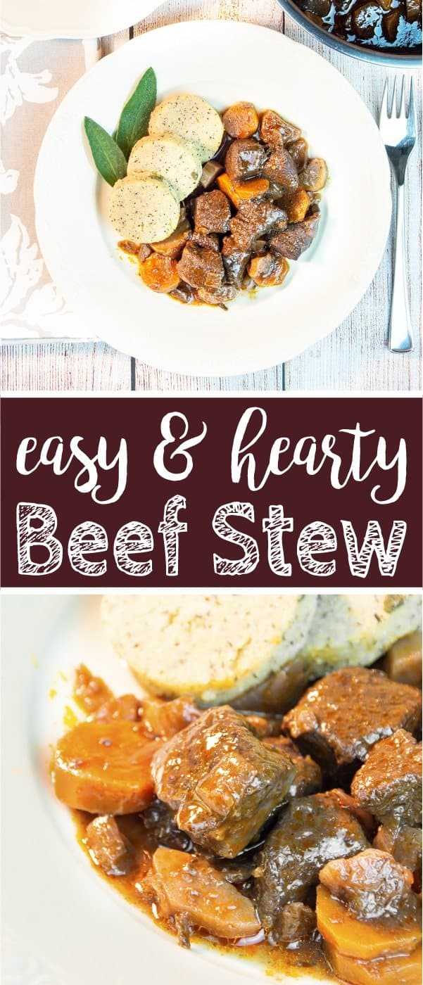 This easy beef stew recipe makes a sumptuous supper and is perfect for cheaper cuts. Our traditional braised beef stew is made with root veggies, fresh herbs, red wine and tasty broth. A slow cooking time guarantees tender meat and a flavourful gravy. The recipe includes instructions for cooking the beef stew on a stove top, in the oven or slow cooker, as well as tips for the type of beef cut you need, seasoning and other ingredients. #beef #stew #beefstew #stewrecipe | countryhillcottage.com