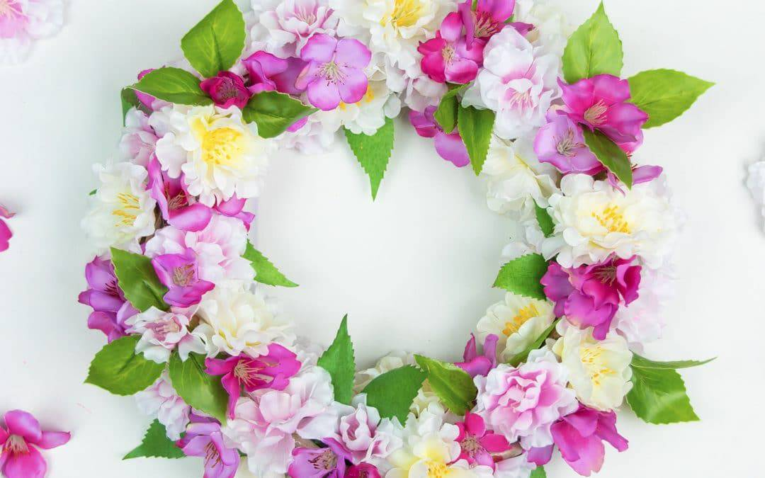 DIY Silk Flower Wreath with Spring Blossoms
