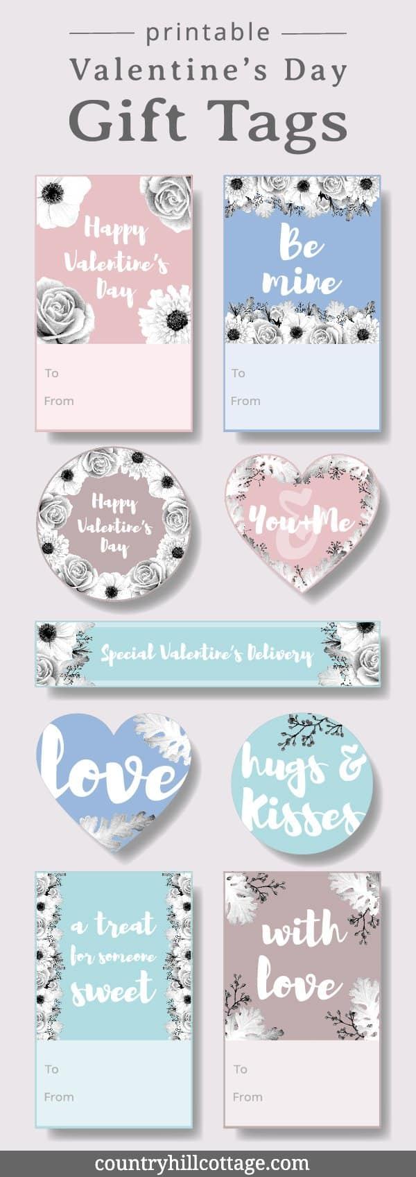 Printable Valentine's Day gift tags are perfect to decorate gifts for your friends and loved ones. Our printable gift tags are an easy DIY project. All you need to do is print, cut, package and your good to go. The tags are also great for birthdays, Mother's Day, wedding anniversaries, or to label shower gifts. Use the set as stickers, labels and template for scrap booking, planners, diaries, and to write sweet notes. #printable #gifttag #ValentinesDay #freebie | countryhillcottage.com