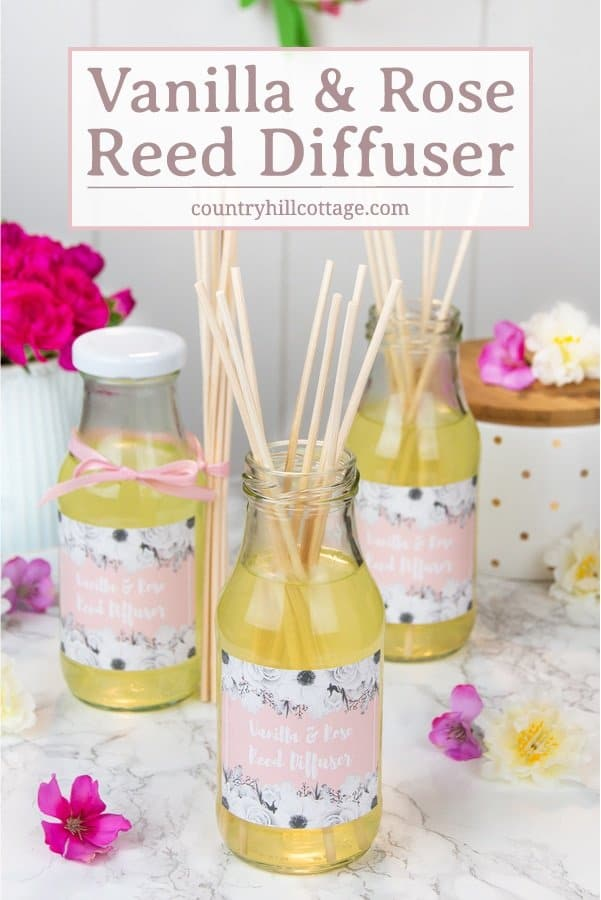 These DIY vanilla rose diffusers with essential oils are the perfect way to fragrance a room and they make adorable gifts. The indulgent scents of rose and vanilla create a romantic and relaxed atmosphere and will lift your mood. These diffusers are only made with natural ingredients and the DIY includes free printable gift labels. #reeddiffuser #diffuser #essentialoils #naturalgift | countryhillcottage.com