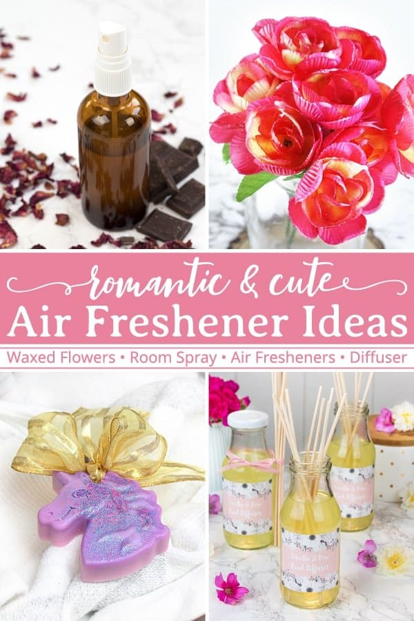 Looking for cute and romantic home fragrance ideas? Then check out these 4 air freshener DIYs! Included are recipes for a chocolate & rose room spray, wax dipped flowers, unicorn air fresheners, and vanilla rose reed diffusers. Each project is all-natural and perfectly scented with essential oils. Each projects makes a lovely homemade gift for your friends. #homefragrance #ValentinesDay #essentialoils #giftgiving | countryhillcottage.com
