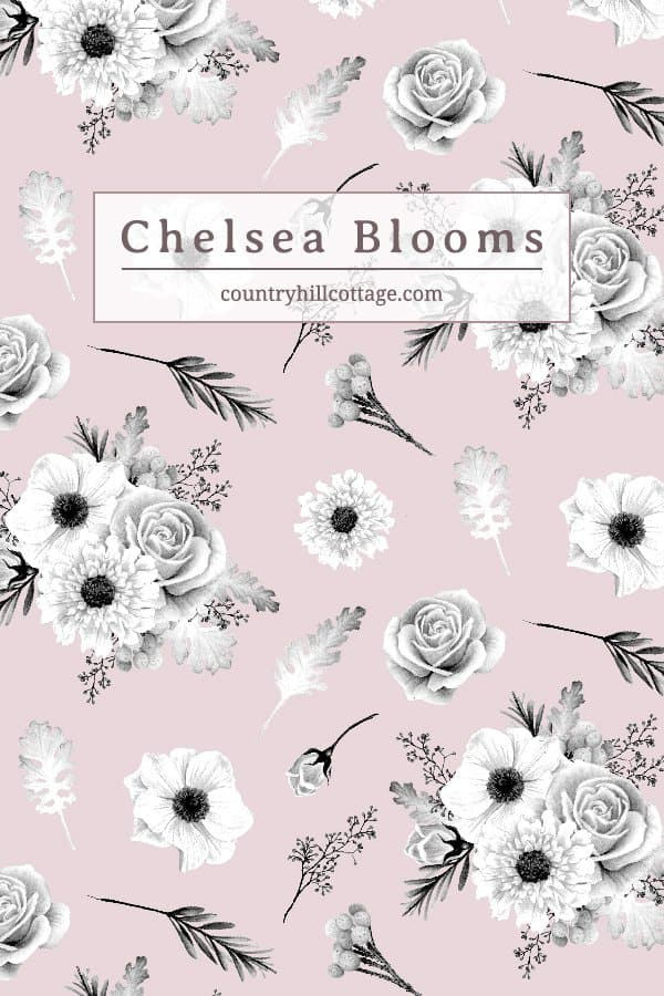 Our Chelsea Blooms print is inspired by walks through London's Chelsea streets. The botanical design features black and white roses, anemones and scabious flowers. Eucalyptus berries, dusty miller leaves and silver brunia berries are also scattered throughout. The backdrop of the pattern is influenced by Chelsea's rainbow terraced houses. So pretty and dreamy, don't you think? #floralpattern #surfacepattern #printdesign #Britisdesign | countryhillcottage.com
